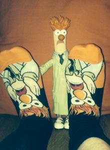 Dirk wears Muppet sox.